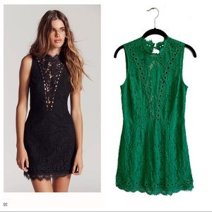Saylor Free People Cherie green lace mini dress